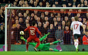 Daniel Sturridge scored the opener for Liverpool from the penalty spot against Manchester United. Pic © David Rawcliffe / Propaganda Photo