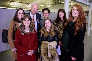 Jon Snow with JMU Journalism students Rochelle Beighton, Astra Newton, Matt Ramirez, Jessica Grieveson-Smith, Jessica Jones and Jenny Kirkham. Pic © Roger Sinek