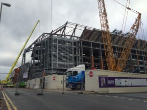 Redevelopment work in progress on the new Main Stand at Anfield. Pic © JMU Journalism