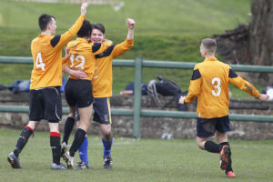Oli Fell celebrates his goal in the semi-final against the third years. Pic © Craig Galloway