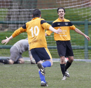 Level 1's Matt Ramirez celebrates his second goal of the semi-final against the third years. Pic © Craig Galloway