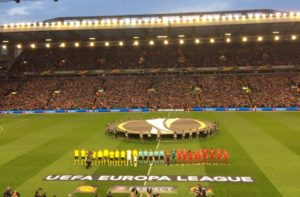 The teams line up for Liverpool v Borussia Dortmund in the Europa League. Pic by Matt Crosby © JMU Journalism