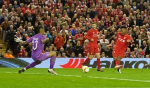 Daniel Sturridge scores the second for goal for Liverpool against Villarreal. Pic © David Rawcliffe / Propaganda Photo