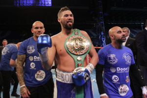 Liverpool's Tony Bellew beat Ilunga Makabu from the Democratic Republic of Congo to win the WBC World Cruiserweight title at Goodison Park. Pic © Lawrence Lustig Matchroom Boxing