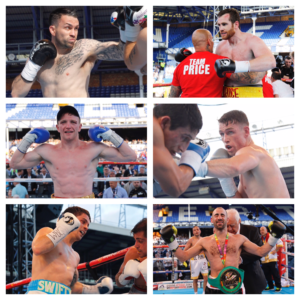 Scouse success: There were victories for lots of local boxers on the Goodison Park fight night bill. Top left (clockwise): Paul Smith, David Price, Callum Smith, Sean Dodd, Stephen Smith, Tom Farrell. Pics © Lawrence Lustig Matchroom Boxing