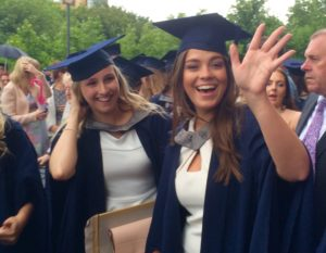 All smiles for Hannah Hodgson and Laura Gilchrist on graduation day. Pic © JMU Journalism