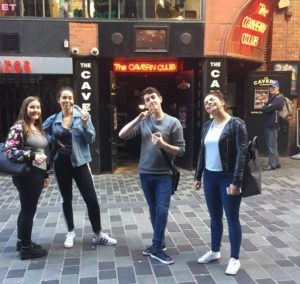 Annie Williams snaps the winning team outside the Cavern Club in Mathew Street during the treasure hunt. Pic © Annie Williams/Twitter
