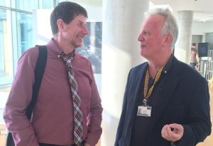 Stephen Mayes, left, in conversation with LJMU journalism lecturer Richard Rudin