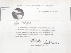 A letter John Lennon wrote to The Queen © The Beatles Story/PA