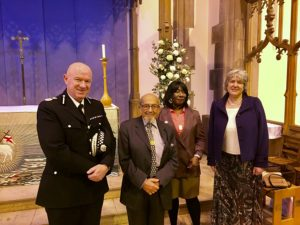 Chief Constable Andy Cooke QPM, Holocaust Survivor Harry Bibring, Dr Gee Walker and Police and Crime Commissioner Rt Hon Jane Kennedy. Pic by Danyaal Yasin © JMU Journalism