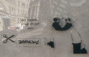 John D'oh's 'Banksy-style' artwork. Pic by Cai Griffiths-Sturge © JMU Journalism