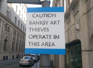 Protest at removal of original Banksy artwork. Pic by Cai Griffiths-Sturge © JMU Journalism