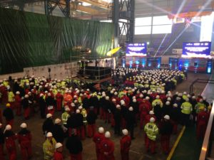 Keel laying ceremony of the RSS Sir David Attenborough. Pic by Hollie Hayes © JMU Journalism
