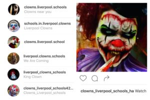 Instagram accounts about clowns at Liverpool schools © Instagram