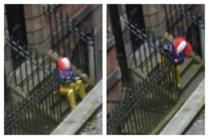 Clown sighting in Old Hall Street in Liverpool on Monday. Pic © John Edge