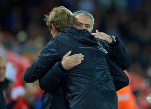 Liverpool boss Jurgen Klopp greets Manchester United manager Jose Mourinho at Anfield. Pic © David Rawcliffe Propaganda Photo