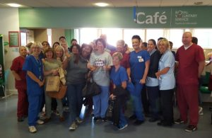 Staff at oLiverpool's Royal Hospital take part in Macmillan's 'world's biggest coffee morning'. Pic by James Jones © JMU Journalism