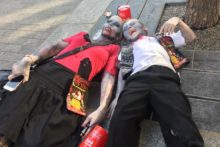 Liverpool kick-started its Halloween celebrations early with the third annual charity 'Zombie Walk'.