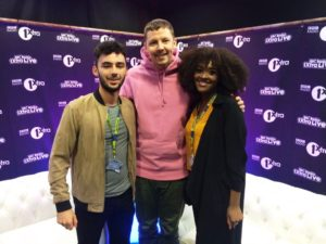 Professor Green meets JMU Journalism's Rhys Edmondson and Christella Twagirayezu at the BBC Radio 1Xtra Live show at Liverpool's Echo Arena. Pic © BBC