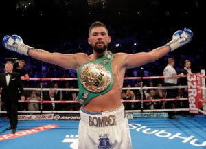Tony Bellew retains his WBC Cruiserweight title after stopping BJ Flores at the Echo Arena. Pic Lawrence Lustig © Matchroom Boxing
