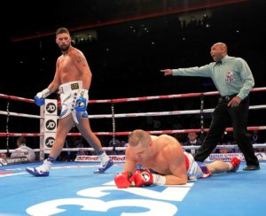 Tony Bellew retains his WBC Cruiserweight title after stopping BJ Flores in the third round at the Echo Arena. Pic Lawrence Lustig © Matchroom Boxing