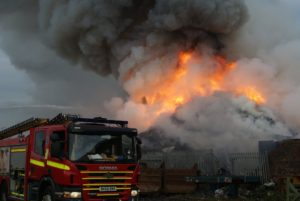 The fire at a Seaforth recycling plant started on Friday. Pic © Merseyside Fire & Rescue