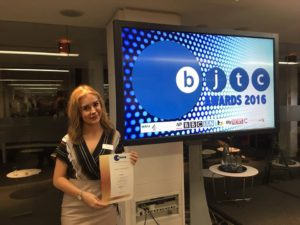 Eleanor Davies with her certificate at the BJTC 2016 Awards Pic © Eleanor Davies