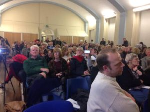 Audience at the green spaces meeting in Old Hallows Church Hall. Pic by Hollie Hayes © JMU Journalism
