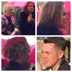 Celebrities at Herbert Howe's funeral included (clockwise from top left): Pete Price Claire Sweeney, Danielle Lloyd, Ray Quinn and Jennifer Ellison. Pics by Laura Hughes © JMU Journalism