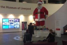The famous Blacklers' Father Christmas has gone on display at the Museum of Liverpool.