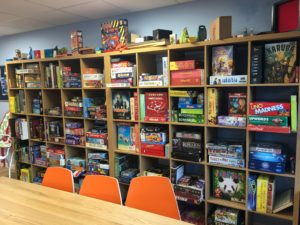 Library of board games at Sugar and Dice café. Pic by Gabrielle Walsh © JMU Journalism