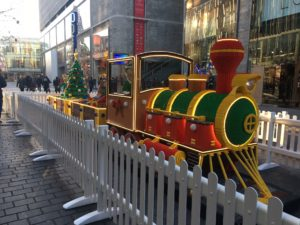 Giant LEGO steam train on Paradise Steet © JMU Journalism