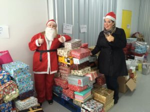 Volunteers with the Christmas boxes Pic © Shoebox Full of Love