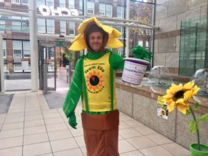 The Sunflower Army dress up in a bid to get donations. Pic by Molly Copoc @ JMU Journalism