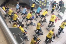Fitness fans took to their exercise bikes in a 'spinathon' to raise awareness of baby loss and stillbirth.