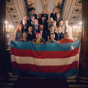 TDOR 2016: Transgender flag handover at Town Hall between representatives of Liverpool's transgender community and civic leaders. Pic © Sophie Green