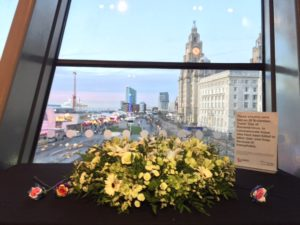 Transgender Day of Remembrance: Wreath laid at the Liverpool Museum. Pic © Sophie Green
