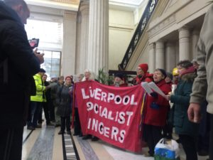 Liverpool Socialist Singers had a message for the PM. Pic © Rhys Edmondson.