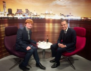JMU Journalism's Nathan Archer meets the Governor of the Bank of England, Mark Carney. Pic © JMU Journalism