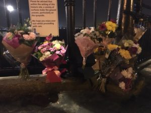 Floral tributes left at Liverpool docks. Pic © JMU Journalism
