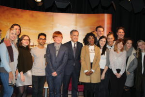 The Governor of the Bank of England, Mark Carney, meets JMU Journalism students at the Redmonds Building TV studio. Pic © JMU Journalism