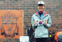 A devoted Liverpool supporter cycled all the way from South Korea to see their Anfield stadium.