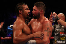 Liverpool's Tony Bellew beat David Haye in the 11th round of an exciting all-British grudge match in London.