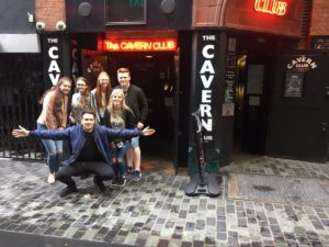 First year journalism students outside the Cavern Club, taking part in the live blog as part of Induction Week