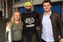 A former serviceman who is walking the entire coast of the UK stopped off in Liverpool on his long-distance route.