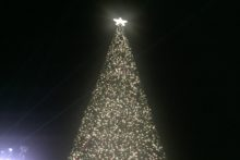 Christmas has arrived with a bang at Cheshire Oaks shopping park as its giant tree is illuminated.