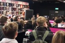 Indie-rock band The Wombats went back their roots to perform a live set at HMV in Liverpool.