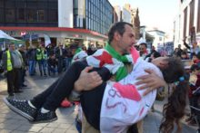 A protest was staged in town against the recent killings in eastern Ghouta during the Syrian civil war.