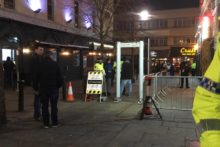 Metal detectors appeared outside city centre bars in Merseyside Police's bid to combat knife crime.