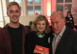 L-R: LJMU Tim Hetherington Fellow Danyaal Yasin, actress Ann Mitchell (Cora Branning from Eastenders), and actor Simon Callow